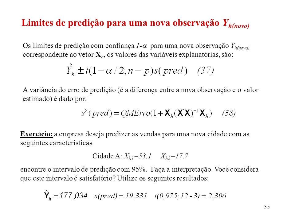 36 Observação: Isto serve para mostrar que apesar de termos um alto valor para o R 2 =0,845, não temos precisão suficiente para fazer os intervalos de predição.