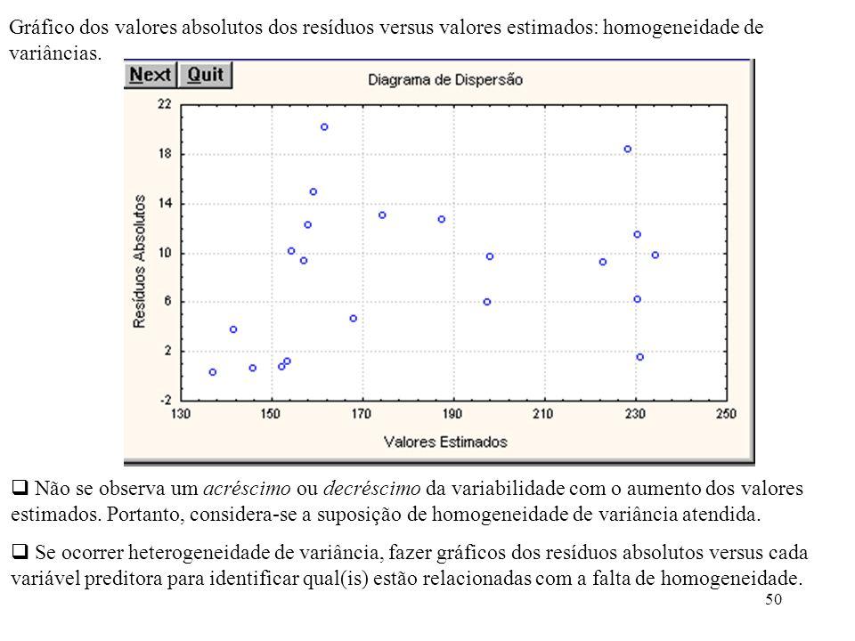 51 Análise de variância: Conclusão: Rejeita-se H 0.