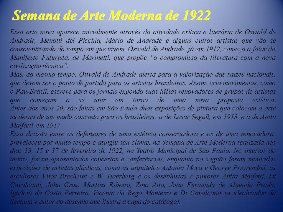 Semana de Arte Moderna de 1922 Essa arte nova aparece inicialmente através da atividade crítica e literária de Oswald de Andrade, Menotti del Picchia,