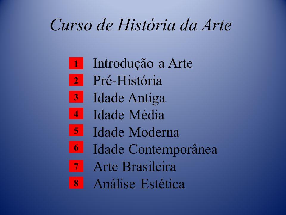 Curso de História da Arte Introdução a Arte Pré-História Idade Antiga Idade Média Idade Moderna Idade Contemporânea Arte Brasileira Análise Estética 1