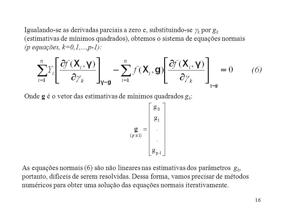 16 Igualando-se as derivadas parciais a zero e, substituindo-se k por g k (estimativas de mínimos quadrados), obtemos o sistema de equações normais (p