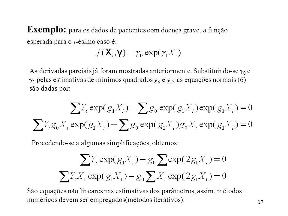 17 Exemplo: para os dados de pacientes com doença grave, a função esperada para o i-ésimo caso é: As derivadas parciais já foram mostradas anteriormen