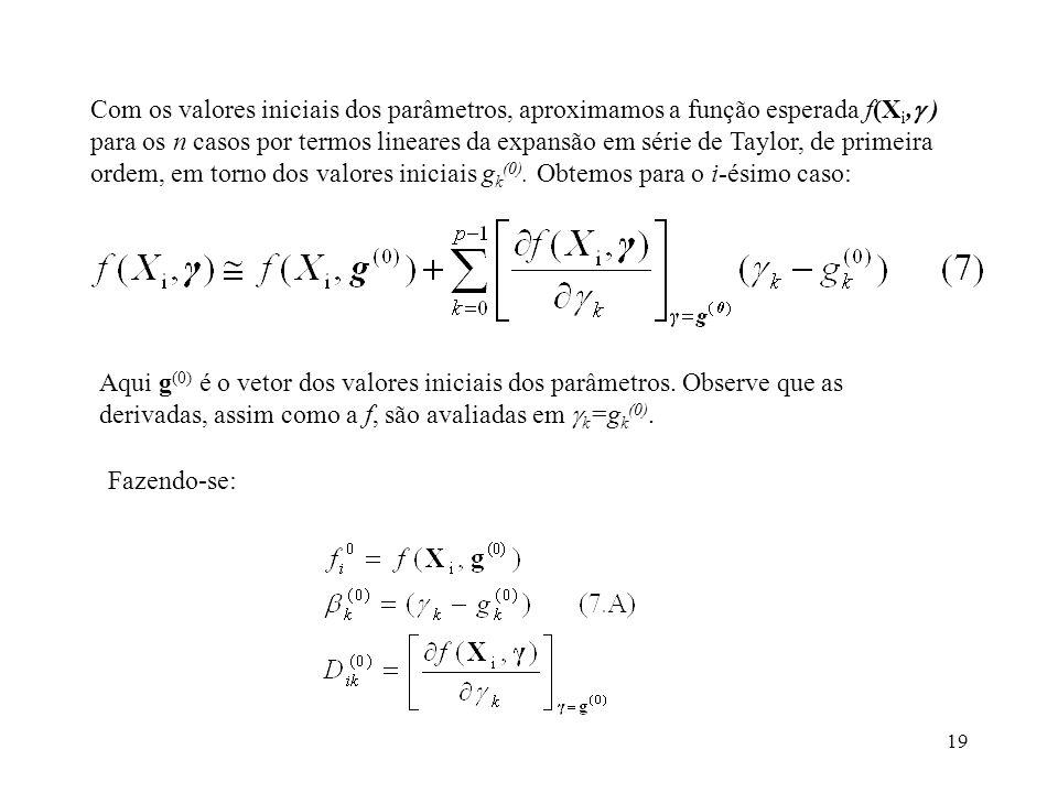 19 Com os valores iniciais dos parâmetros, aproximamos a função esperada f(X i, ) para os n casos por termos lineares da expansão em série de Taylor,