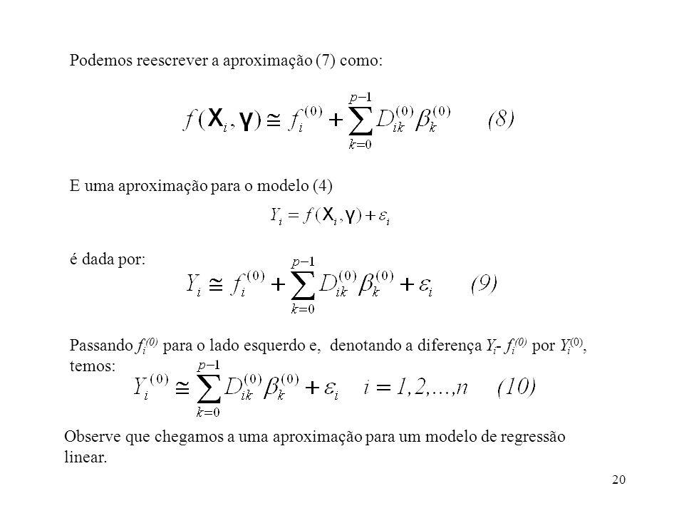 20 Podemos reescrever a aproximação (7) como: E uma aproximação para o modelo (4) é dada por: Passando f i (0) para o lado esquerdo e, denotando a dif
