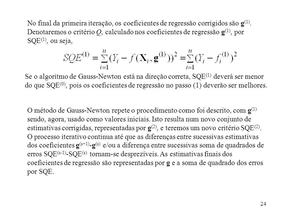 24 No final da primeira iteração, os coeficientes de regressão corrigidos são g (1). Denotaremos o critério Q, calculado nos coeficientes de regressão