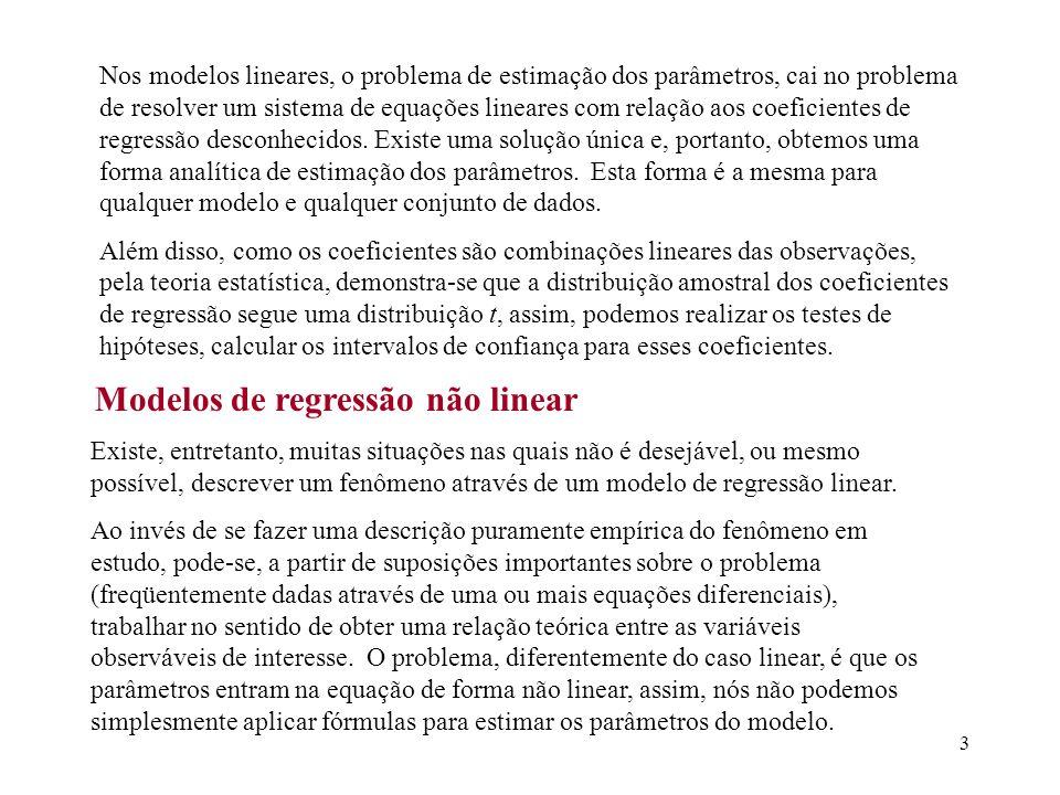 3 Nos modelos lineares, o problema de estimação dos parâmetros, cai no problema de resolver um sistema de equações lineares com relação aos coeficient