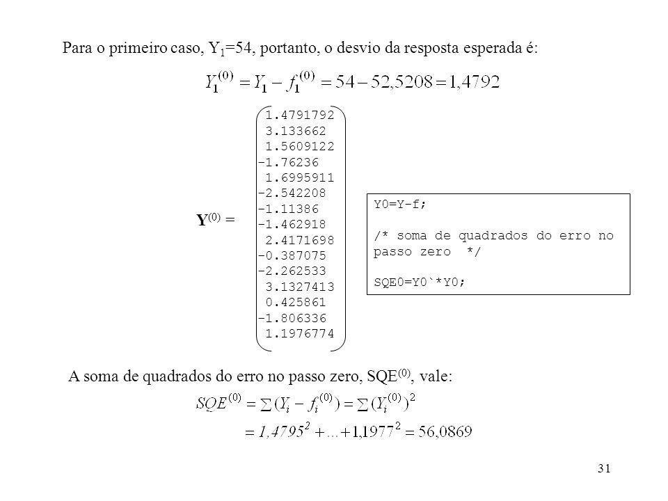 31 Para o primeiro caso, Y 1 =54, portanto, o desvio da resposta esperada é: 1.4791792 3.133662 1.5609122 -1.76236 1.6995911 -2.542208 -1.11386 -1.462