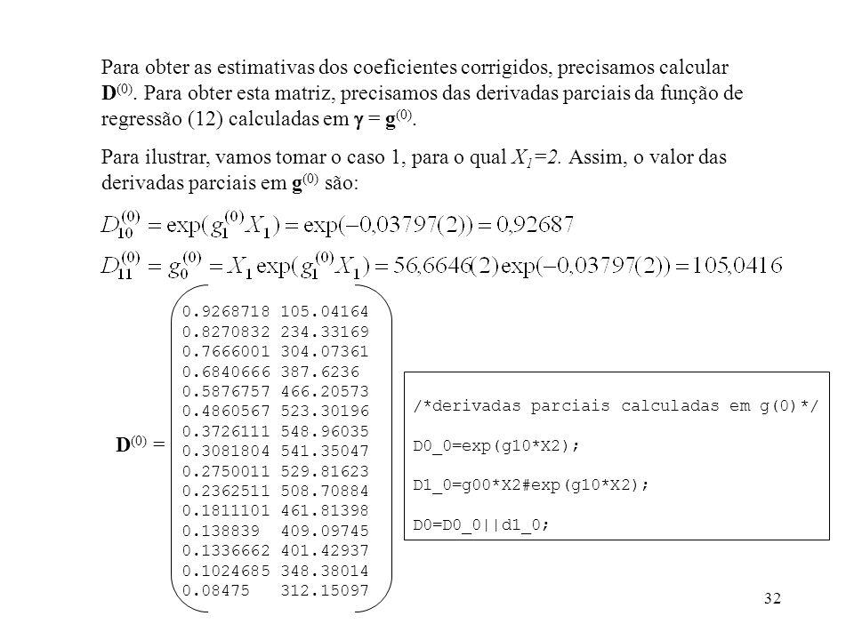 32 Para obter as estimativas dos coeficientes corrigidos, precisamos calcular D (0). Para obter esta matriz, precisamos das derivadas parciais da funç