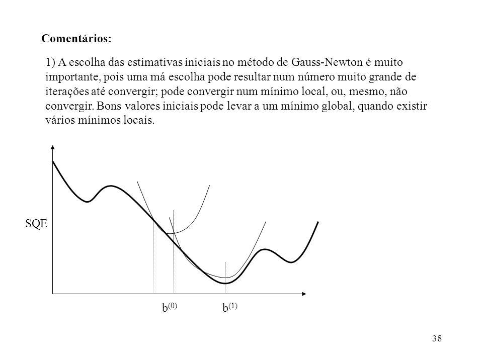 38 Comentários: 1) A escolha das estimativas iniciais no método de Gauss-Newton é muito importante, pois uma má escolha pode resultar num número muito