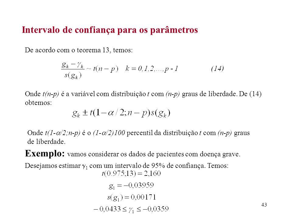 43 Intervalo de confiança para os parâmetros De acordo com o teorema 13, temos: Onde t(n-p) é a variável com distribuição t com (n-p) graus de liberda