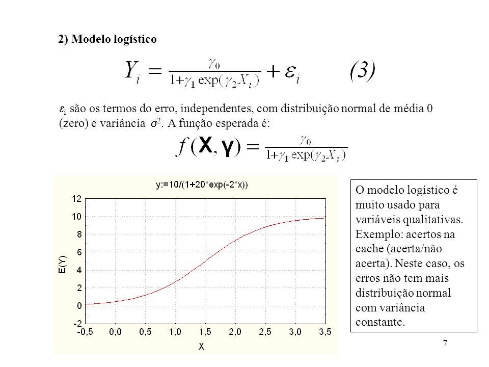 7 2) Modelo logístico i são os termos do erro, independentes, com distribuição normal de média 0 (zero) e variância 2. A função esperada é: O modelo l