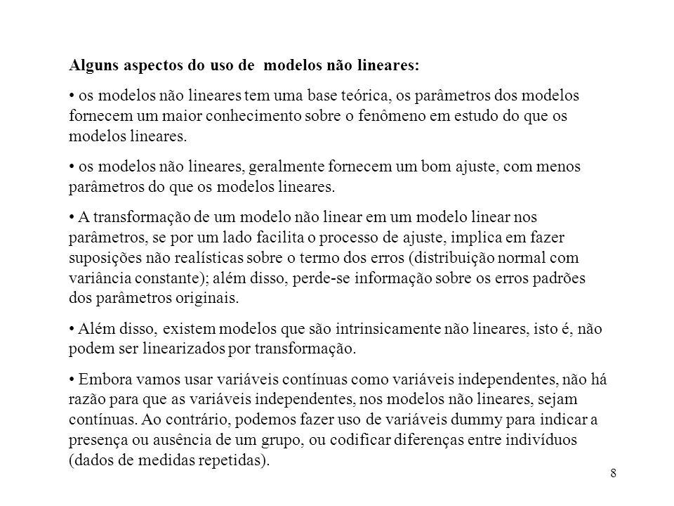 8 Alguns aspectos do uso de modelos não lineares: os modelos não lineares tem uma base teórica, os parâmetros dos modelos fornecem um maior conhecimen