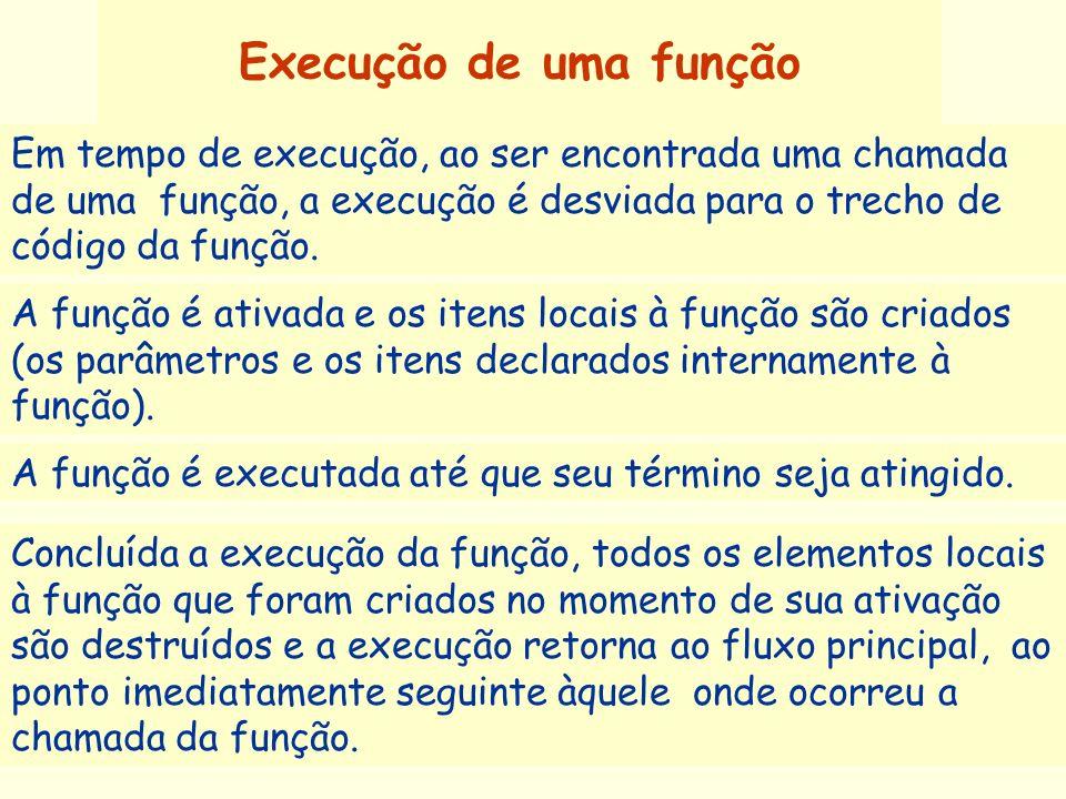 Execução de uma função A função é ativada e os itens locais à função são criados (os parâmetros e os itens declarados internamente à função). Em tempo