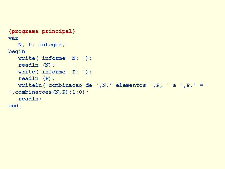 {programa principal} var N, P: integer; begin write('informe N: '); readln (N); write('informe P: '); readln (P); writeln('combinacao de ',N,' element
