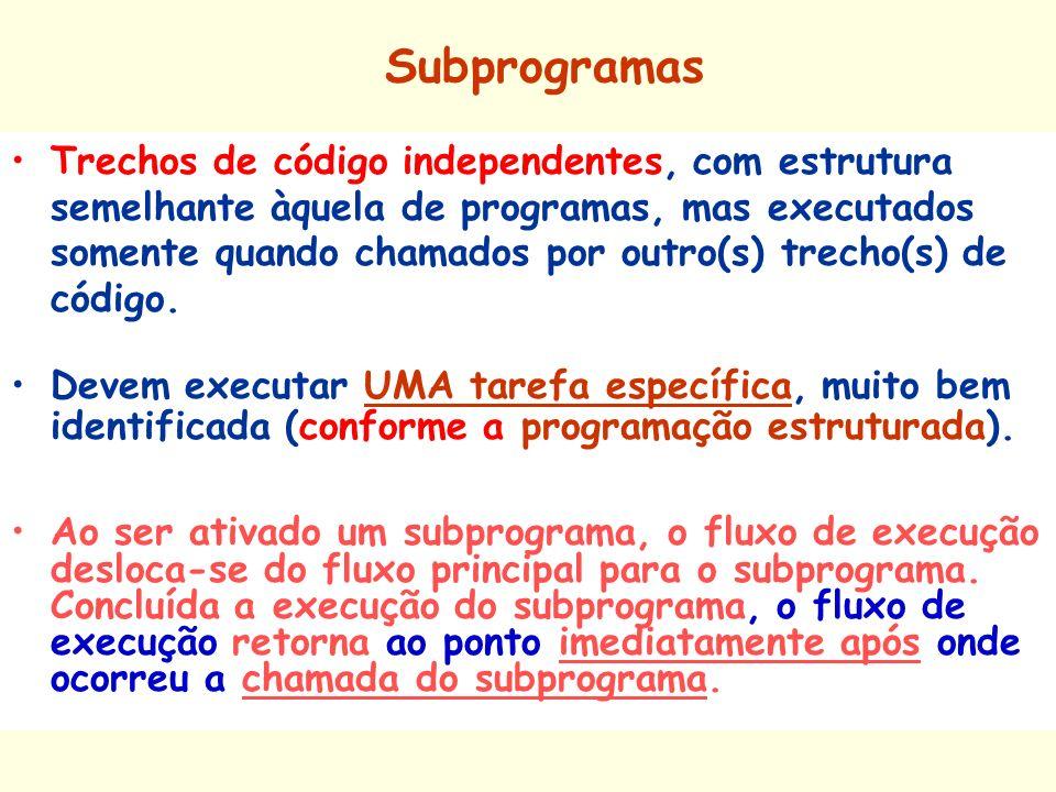 Subprogramas Trechos de código independentes, com estrutura semelhante àquela de programas, mas executados somente quando chamados por outro(s) trecho