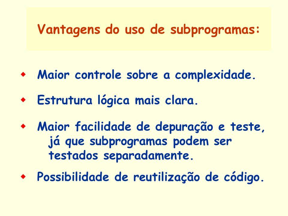 Vantagens do uso de subprogramas: Maior facilidade de depuração e teste, já que subprogramas podem ser testados separadamente. Possibilidade de reutil