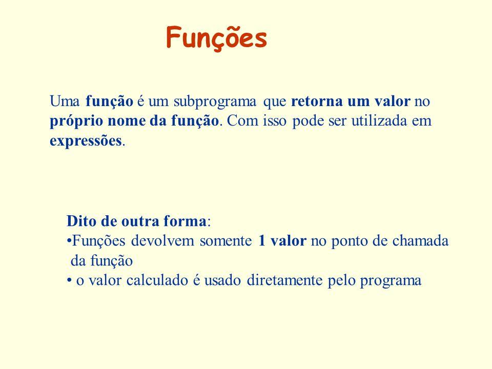Funções Uma função é um subprograma que retorna um valor no próprio nome da função. Com isso pode ser utilizada em expressões. Dito de outra forma: Fu