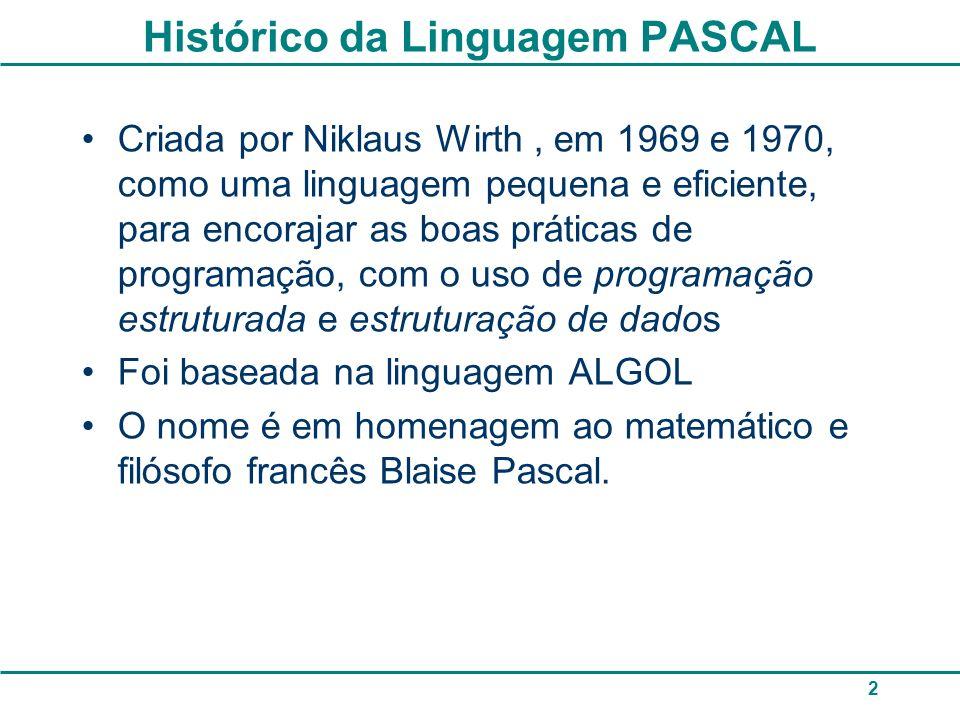 2 Histórico da Linguagem PASCAL Criada por Niklaus Wirth, em 1969 e 1970, como uma linguagem pequena e eficiente, para encorajar as boas práticas de programação, com o uso de programação estruturada e estruturação de dados Foi baseada na linguagem ALGOL O nome é em homenagem ao matemático e filósofo francês Blaise Pascal.