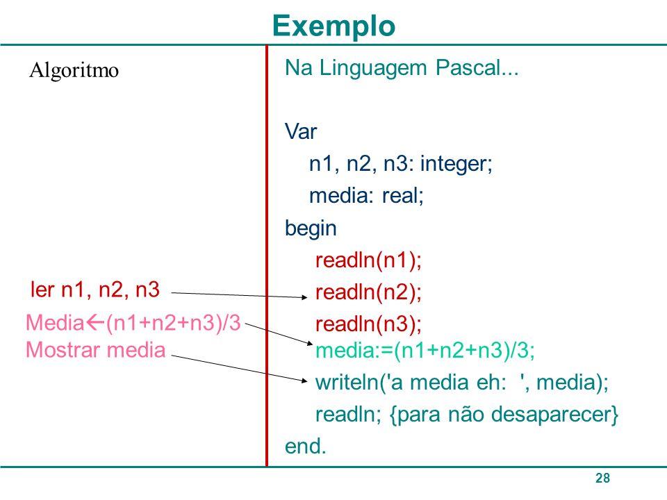 28 Exemplo Na Linguagem Pascal...
