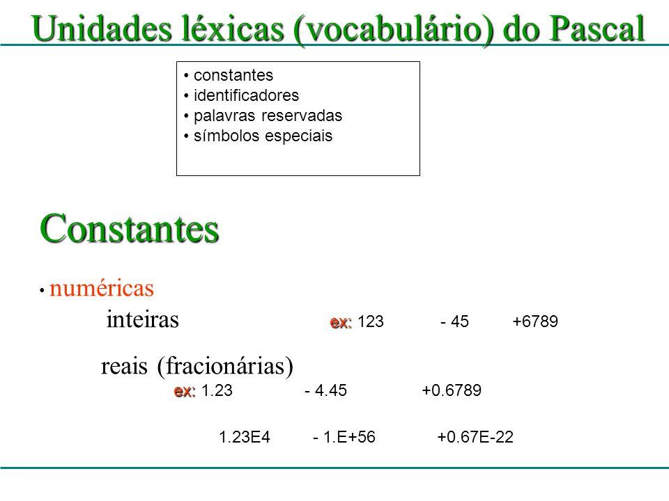14 Comando de atribuição := Atribui o valor da direita à variável da esquerda O valor pode ser: – uma constante, – uma variável ou –uma expressão Exemplos x := 4; lemos: x recebe 4 y := x + 2; lemos: y recebe x mais 2 y := y + 4; lemos: y recebe y mais 4 valor := 2.5; sexo := F constantes devem estar entre aspas simples (apóstrofe)