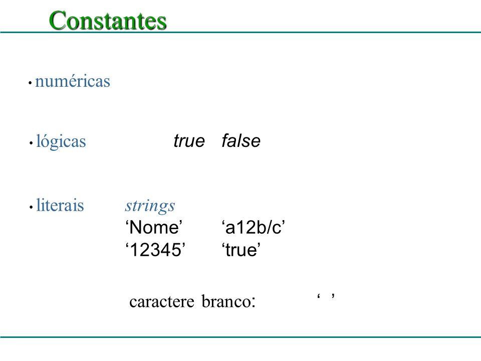 Identificador Sintaxe de identificador: Unidades léxicas do Pascal Ex: A12x_3iAnaTerra Valor1 63 caracteres significativos não pode conter espaços brancos tem que começar por letra