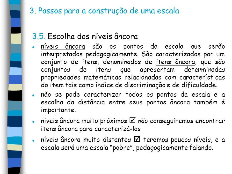 3. Passos para a construção de uma escala 3.5. Escolha dos níveis âncora l níveis âncora são os pontos da escala que serão interpretados pedagogicamen