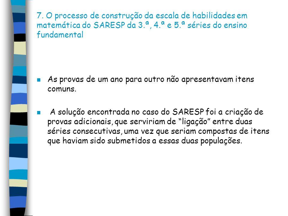 7. O processo de construção da escala de habilidades em matemática do SARESP da 3.ª, 4.ª e 5.ª séries do ensino fundamental n As provas de um ano para