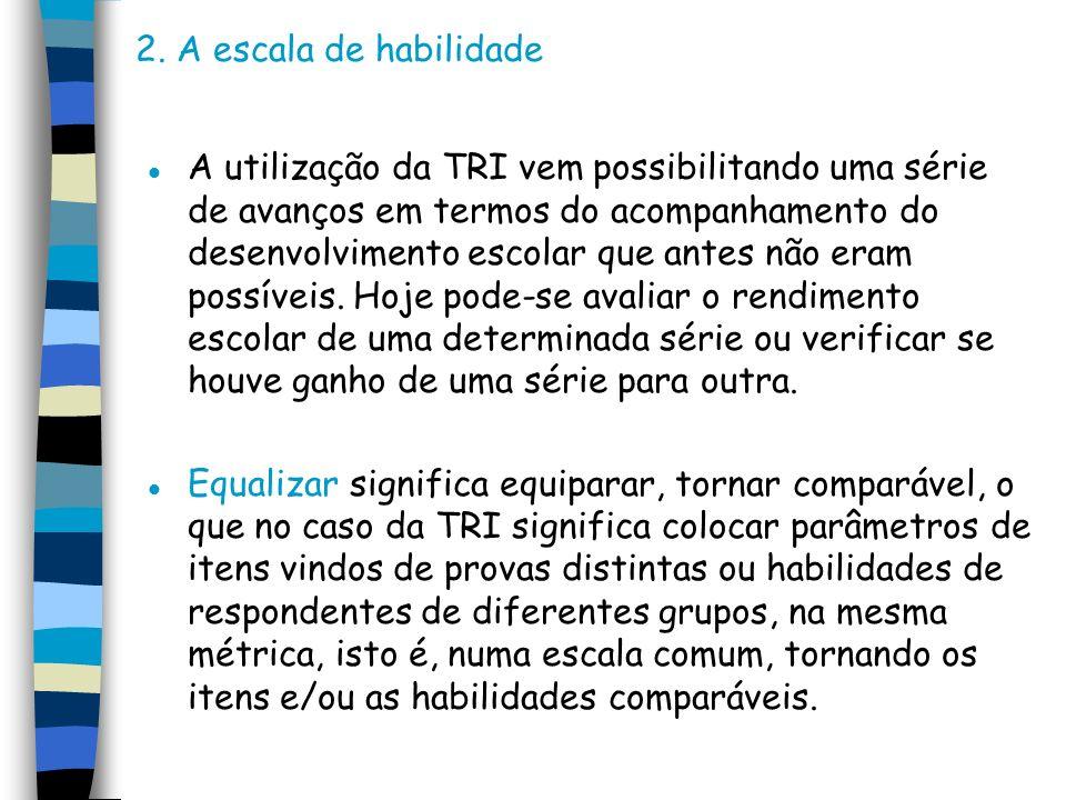 2. A escala de habilidade l A utilização da TRI vem possibilitando uma série de avanços em termos do acompanhamento do desenvolvimento escolar que ant