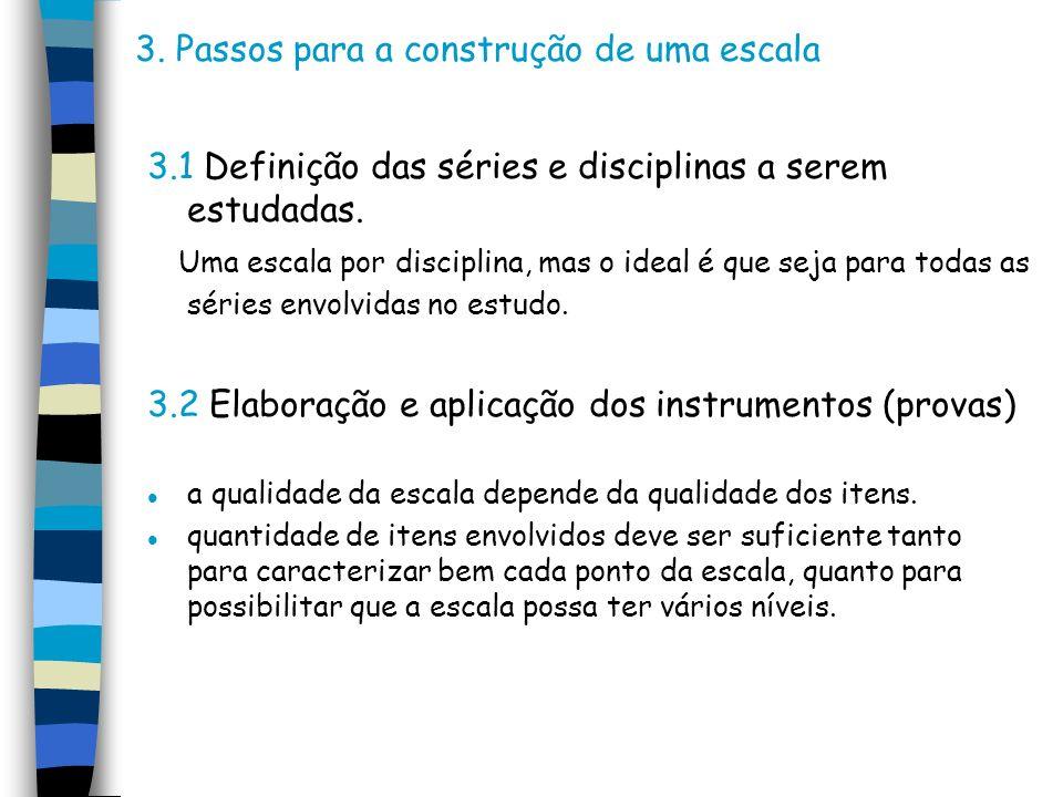 3. Passos para a construção de uma escala 3.1 Definição das séries e disciplinas a serem estudadas. Uma escala por disciplina, mas o ideal é que seja