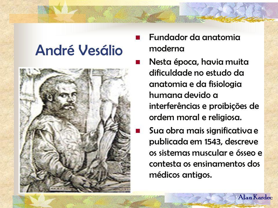 Alan Kardec André Vesálio Fundador da anatomia moderna Nesta época, havia muita dificuldade no estudo da anatomia e da fisiologia humana devido a inte