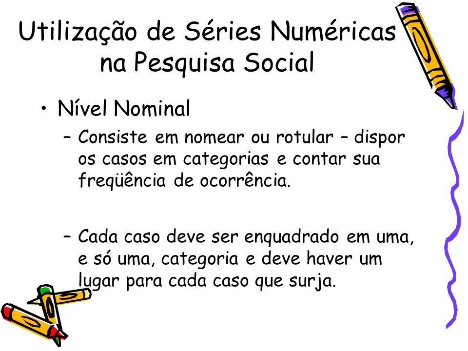 Nível Nominal –Consiste em nomear ou rotular – dispor os casos em categorias e contar sua freqüência de ocorrência. –Cada caso deve ser enquadrado em