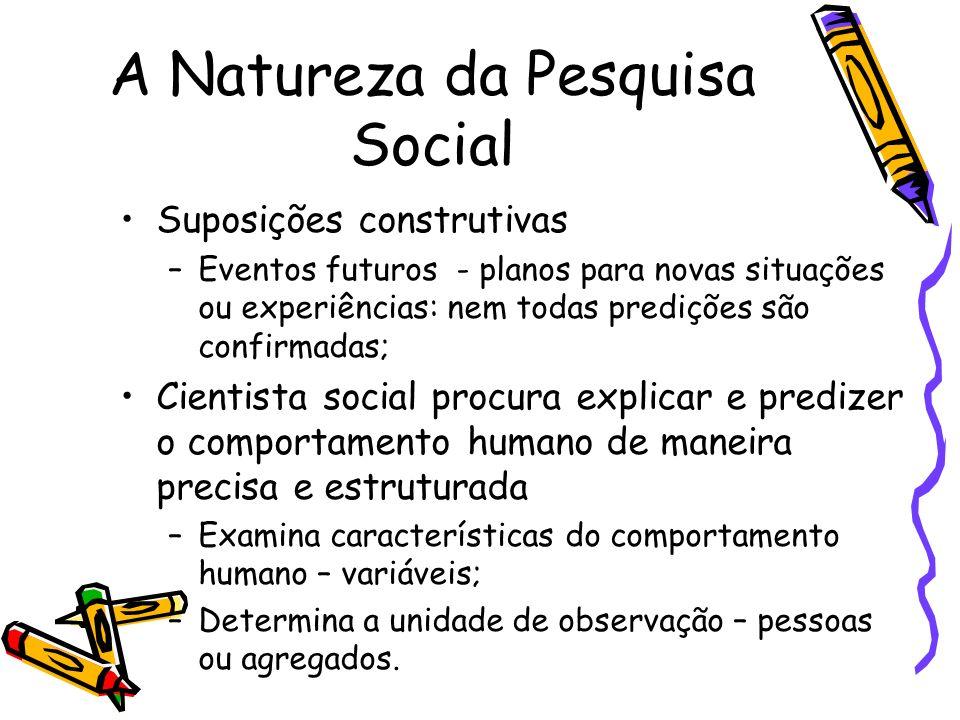A Natureza da Pesquisa Social Suposições construtivas –Eventos futuros - planos para novas situações ou experiências: nem todas predições são confirma