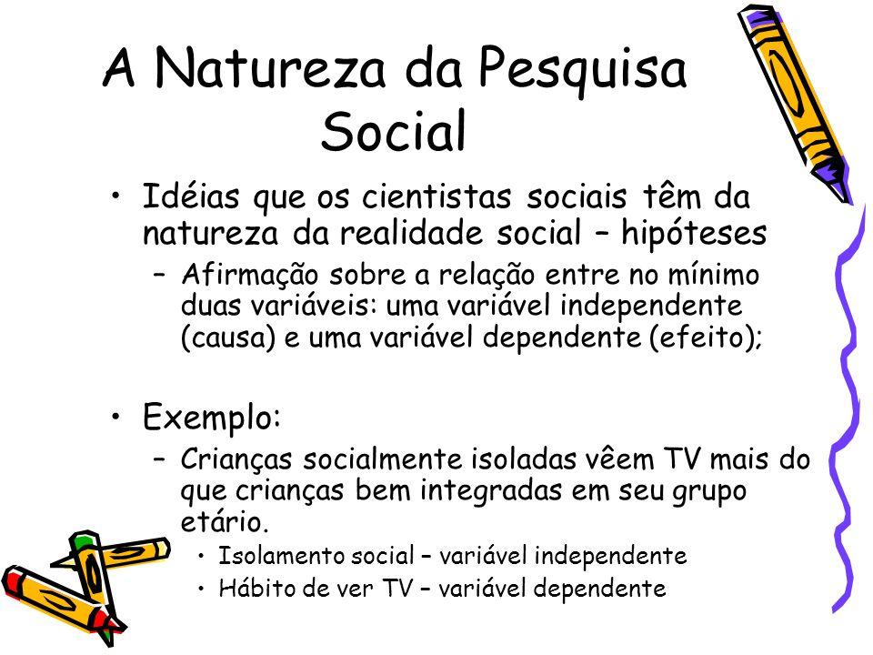 A Natureza da Pesquisa Social Idéias que os cientistas sociais têm da natureza da realidade social – hipóteses –Afirmação sobre a relação entre no mín