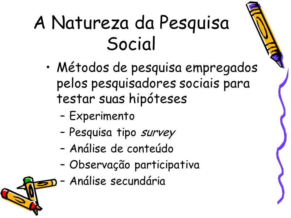 A Natureza da Pesquisa Social Métodos de pesquisa empregados pelos pesquisadores sociais para testar suas hipóteses –Experimento –Pesquisa tipo survey