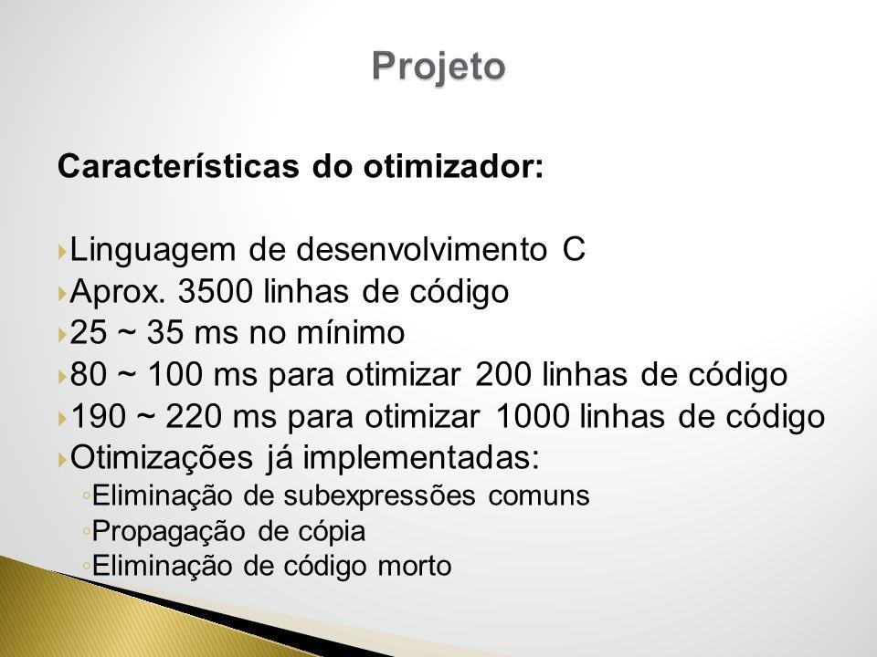 Características do otimizador: Linguagem de desenvolvimento C Aprox. 3500 linhas de código 25 ~ 35 ms no mínimo 80 ~ 100 ms para otimizar 200 linhas d