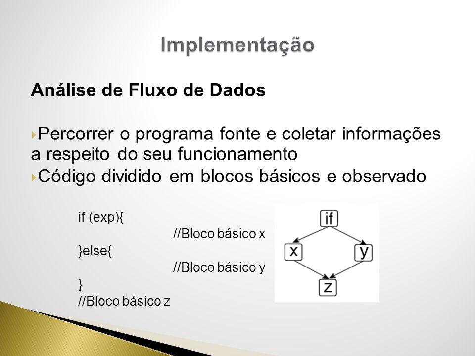 Análise de Fluxo de Dados Percorrer o programa fonte e coletar informações a respeito do seu funcionamento Código dividido em blocos básicos e observa
