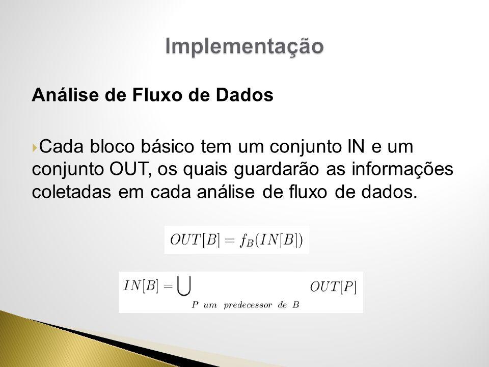 Análise de Fluxo de Dados Cada bloco básico tem um conjunto IN e um conjunto OUT, os quais guardarão as informações coletadas em cada análise de fluxo