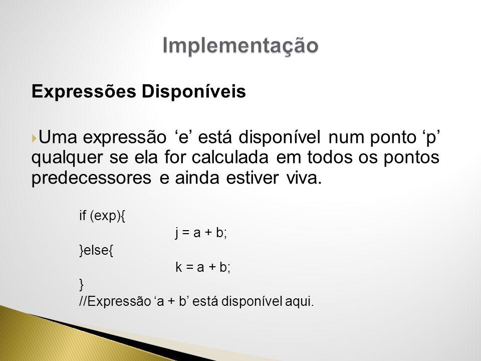 Expressões Disponíveis Uma expressão e está disponível num ponto p qualquer se ela for calculada em todos os pontos predecessores e ainda estiver viva