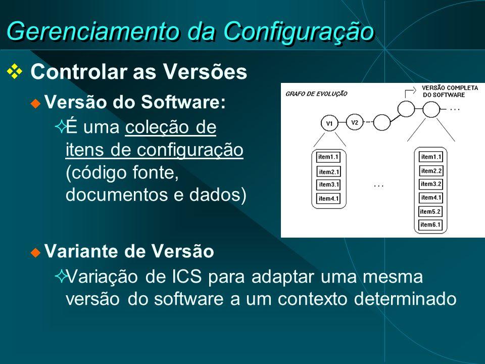 Gerenciamento da Configuração Controlar as Versões Versão do Software: É uma coleção de itens de configuração (código fonte, documentos e dados) Varia