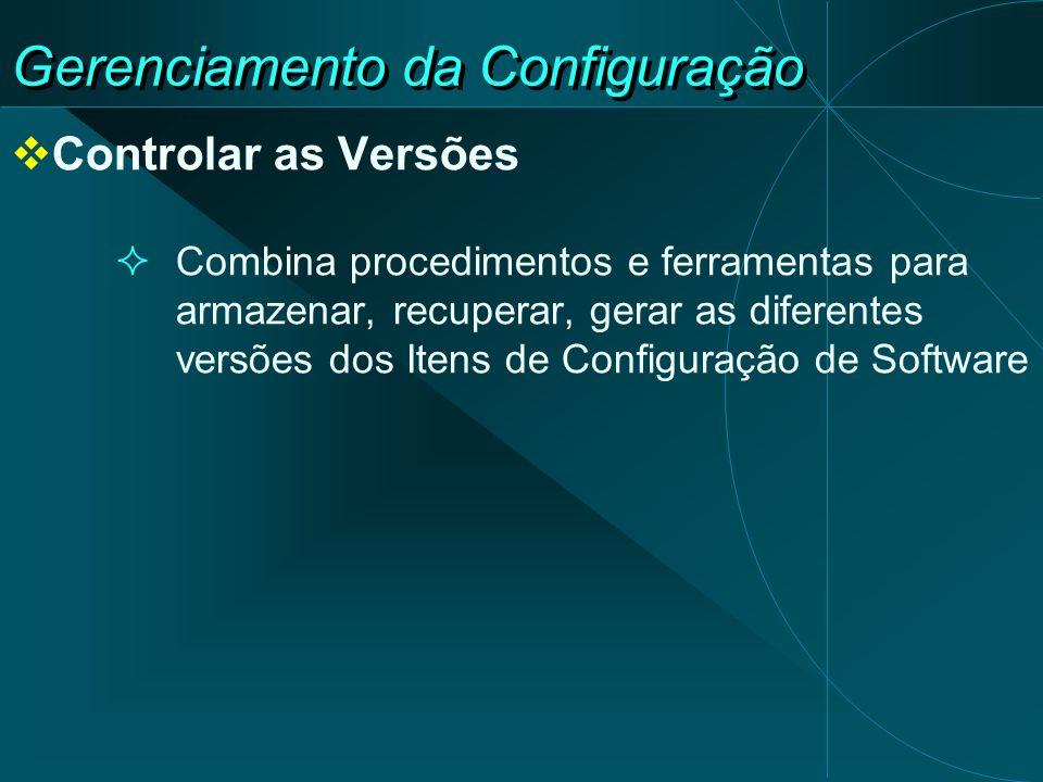 Gerenciamento da Configuração Controlar as Versões Combina procedimentos e ferramentas para armazenar, recuperar, gerar as diferentes versões dos Iten