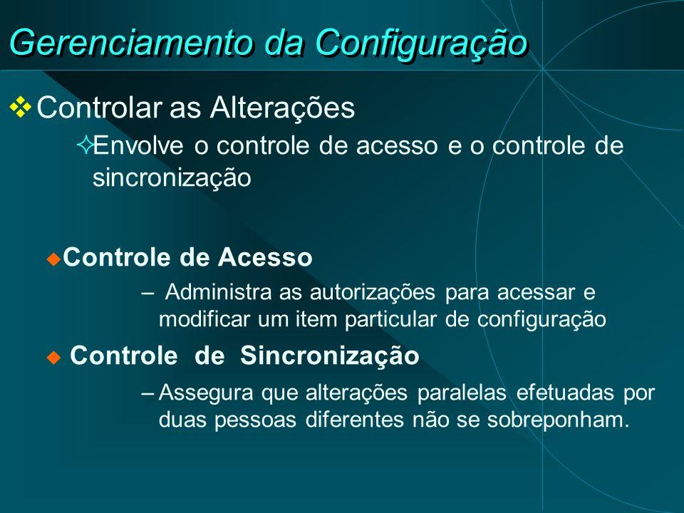 Gerenciamento da Configuração Controlar as Alterações Envolve o controle de acesso e o controle de sincronização Controle de Acesso – Administra as au