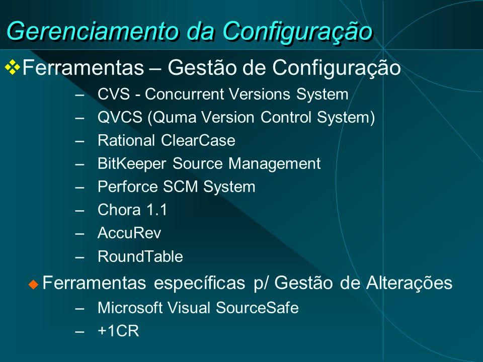 Gerenciamento da Configuração Ferramentas – Gestão de Configuração –CVS - Concurrent Versions System –QVCS (Quma Version Control System) –Rational Cle