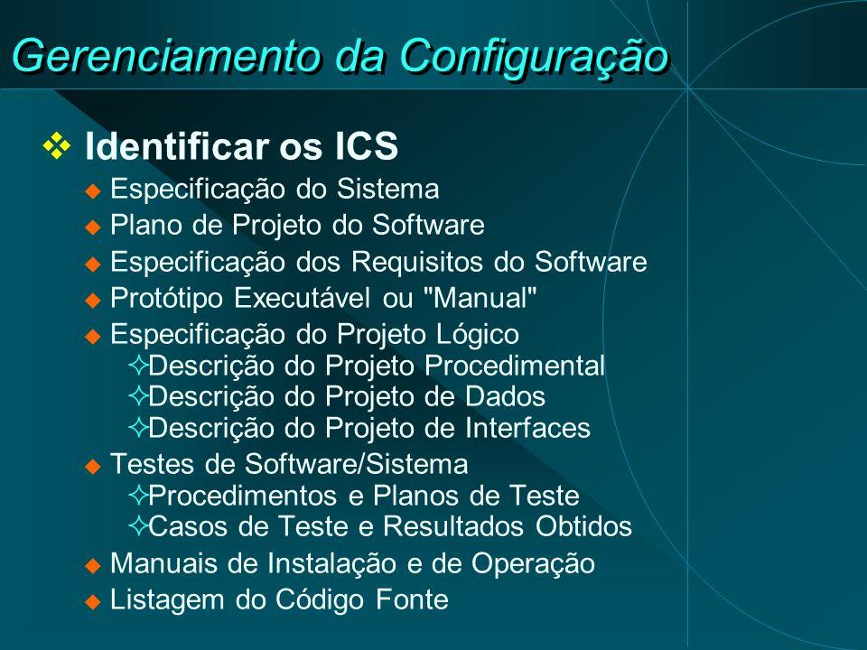 Gerenciamento da Configuração Identificar os ICS Especificação do Sistema Plano de Projeto do Software Especificação dos Requisitos do Software Protót