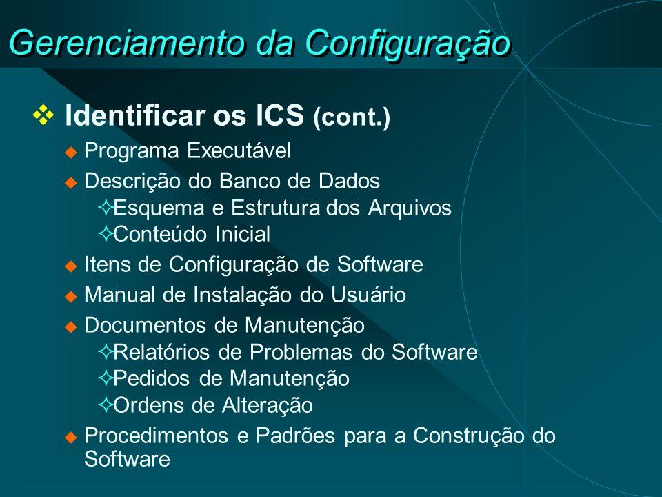 Gerenciamento da Configuração Identificar os ICS (cont.) Programa Executável Descrição do Banco de Dados Esquema e Estrutura dos Arquivos Conteúdo Ini
