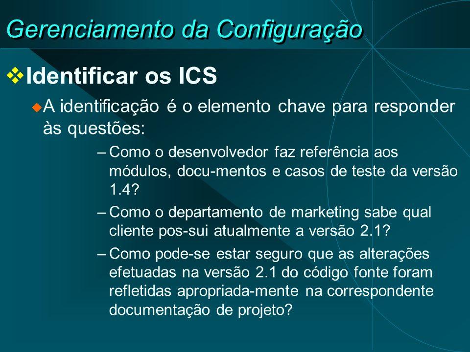 Gerenciamento da Configuração Identificar os ICS A identificação é o elemento chave para responder às questões: –Como o desenvolvedor faz referência a