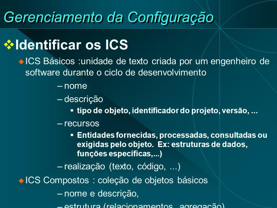 Gerenciamento da Configuração Identificar os ICS ICS Básicos :unidade de texto criada por um engenheiro de software durante o ciclo de desenvolvimento