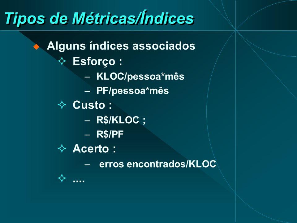 Métricas Orientadas ao Tamanho do Software Linhas de Código (LOC) Problemas: diferenças entre linguagens de programação Vantagens métrica objetiva fácil de medir