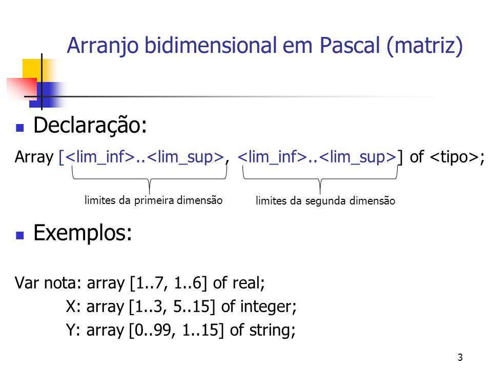 Program testeMatriz; Var mat:array[1..4,1..3] of integer; I,K:integer; {indices para as 2 dimensões} Begin writeln( informe a matriz ); writeln; for I:=1 to 4 do for K:=1 to 3 do begin write( posicao ,I, , ,K, : ); readln(mat[I,K]); end; writeln; writeln( Matriz lida: ); for I:=1 to 4 do begin writeln; for K:=1 to 3 do write(mat[I,K]:4); end; readln; End.