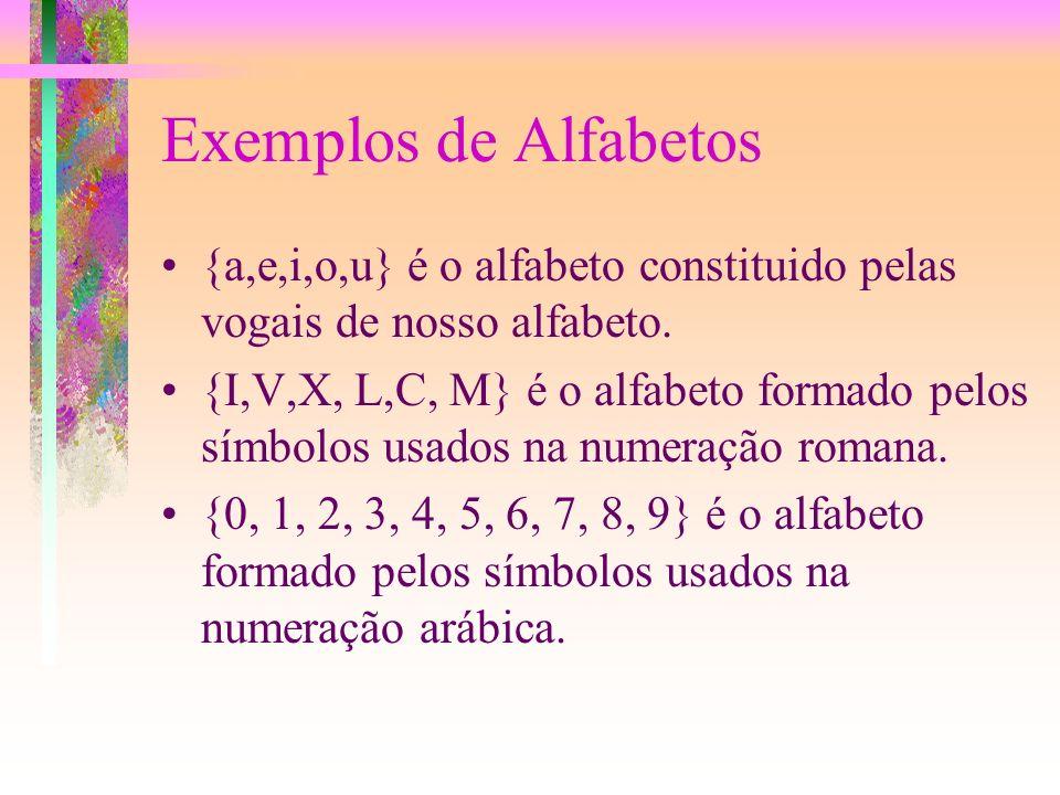 Alfabetos Um alfabeto é um conjunto finito de símbolos. Algumas vêzes se fala de vocabulário, em lugar de alfabeto. Neste caso os símbolos são palavra