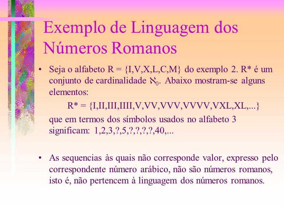 Definição de Linguagem Ao conjunto de todos as seqüências de elementos do alfabeto que se podem formar denota-se por A*. Uma linguagem L sobre um alfa